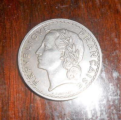 Nice France 1935 5 Francs Nickel High Grade Coin  French Coin