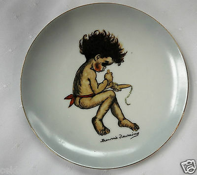 """Brownie Downing Indigenous Australian Child Plate Playing with Stick  6 1/2"""""""