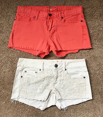 2 Womens shorts Sz 4 Lucky Brand American Eagle denim coral & white lace crochet