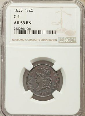 1833 Classic Head Half Cent NGC Graded AU 53 (NGC Certified 1/2 Cent) BV $220