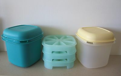 Vintage Tupperware ice buckets x 2, with 3 ice making trays. VGC