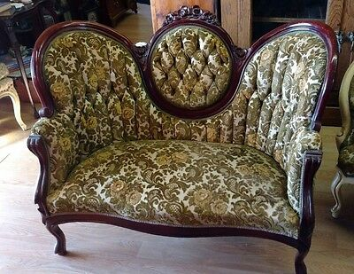 Antique Victorian Style Settee, mahogany with floral carvings, cut velvet tufted