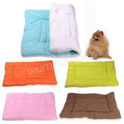 Washable Warm Pet Mat Pure Color Dog Cat Bed Cushion Pad Kennel Cage Fleece Nest