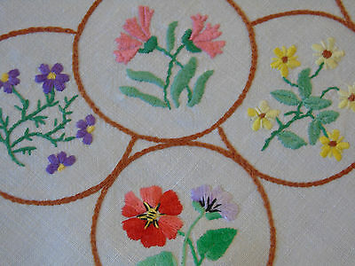 """Vintage Hand Embroidered Tablecloth 40""""x40"""" spring flowers"""