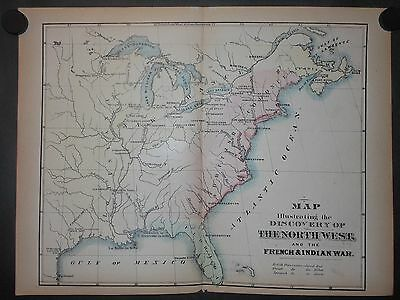Discovery Of The North West & Indian War Map Hand Color Florida British Colonies