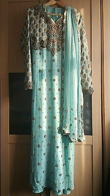 Ladies blue stone embellished abaya with scarf. Used. Size in details....