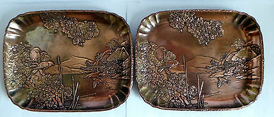 ANTIQUE JAPANESE COPPER ALLOY PIN TRAYS x2 MEIJI PERIOD c1900 - BEAUTIFUL DESIGN