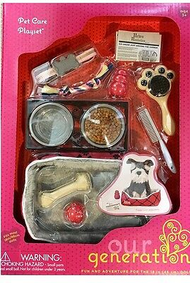 """NEW! Our Generation PET DOG CARE PLAY SET for 18"""" Dolls Accessories"""