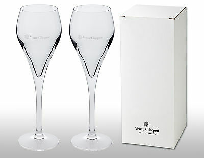 Veuve Clicquot Crystal Champagne Flutes X 2 New And Boxed
