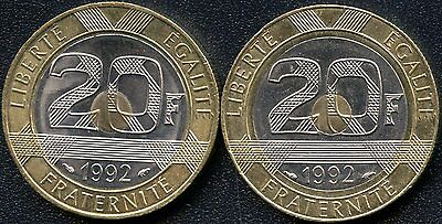 2 Of France 1992 20 Franc Coins