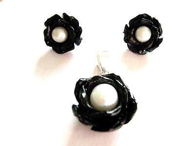 Sterling Silver Black Rose flower & pearl Pendant & matching earrings set Gothic