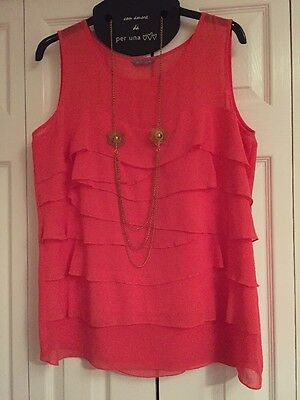 Size 18 Per Una Orange Tiered Top With Free Necklace