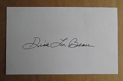 Dick Lebeau Signed Autograph 3X5 Index Card Nfl Pro Football Hall Of Fame Lions
