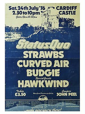 "Status Quo / Hawkwind Cardiff Castle 16"" x 12"" Reproduction Concert Poster Photo"