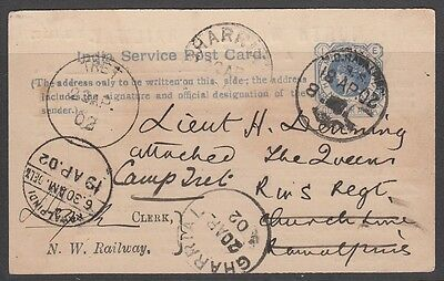 India 1902 Service Postcard North Western Railway Parcel Card Camp Tret Gharrial