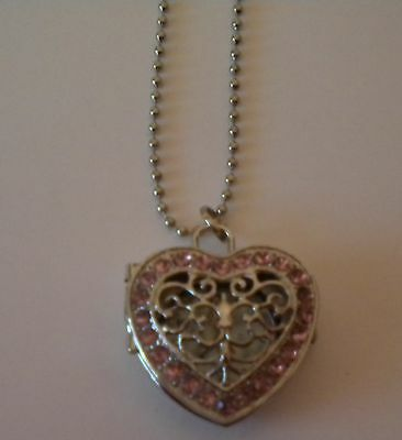 New Girls/ladies Pink & Silver Heart Shaped Necklace Watch On A Long Chain