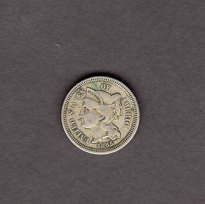 US 3 Cent Nickel Coin 1865 in VG Very Good Condition