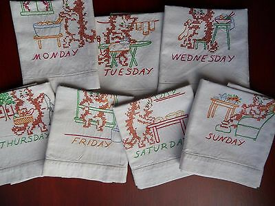 Vintage Linen Tea Towels Embroidered Cats Days of the Week full set of 7