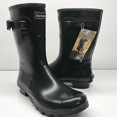 $119 Barbour Short Gloss Boot Black Size Women's 7 NEW