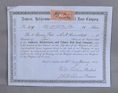 1864 10 Share Stock Certificate - Amherst, Belchertown and Palmer Railroad Co MA