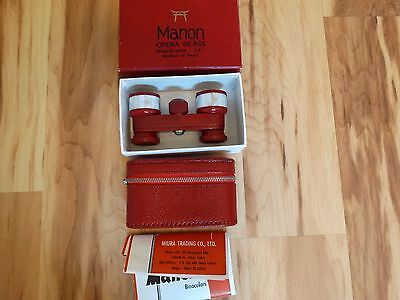 Vintage Shrine Manon 3X Coated Binoculars Red Mother of Pearl Opera w/ Red Case