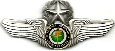 Classic FAA Pewter/Silver Finish Deluxe #2 Command/Master Pilot Wings