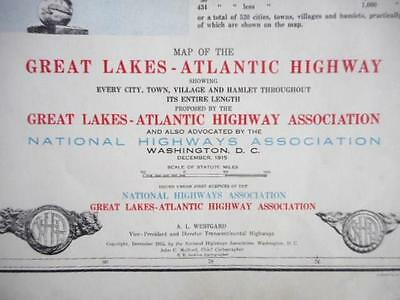 Proposed 1915 Great Lakes-Atlantic National Highway Association Map Ohio-Florida