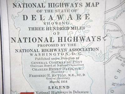"""Proposed 1914 Delaware National Highways Association Map """"good Roads Everywhere"""""""