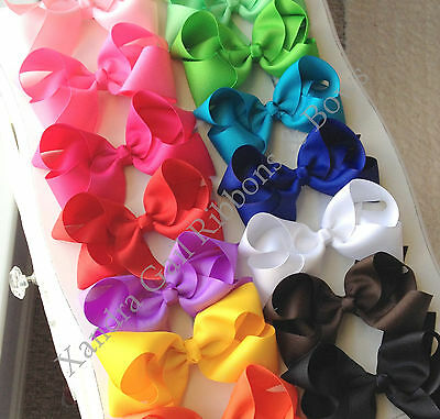 "20- 5"" Big Hair Bows Boutique Girls Baby Toddler Alligator Clip Grosgrain Ribbon"