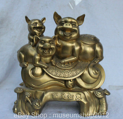 "14"" China Folk Feng Shui Brass Farm Livestock Pig Family Ru Yi Statue Sculpture"