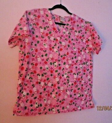 Just Love Scrub Top Women's Pink and Snowman Christmas M
