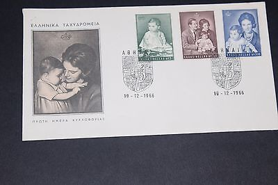 Greece 1966 Princes First Birthday Set Of 3 On   Illustrated First Day Cover