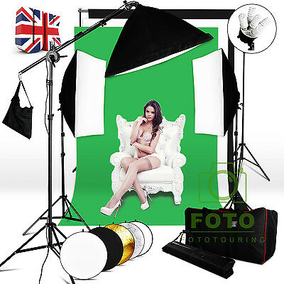 Photography Lighting Kit Softbox Soft box Boom Arm Background Stand Reflector UK