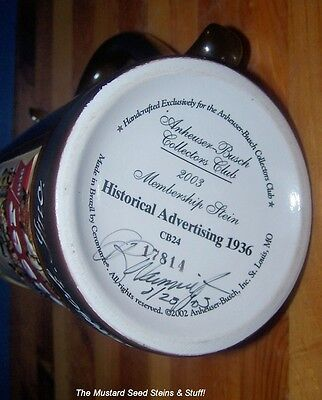 Anheuser Busch 2003 HISTORICAL ADVERTISING 1936 Stein CB24 SIGNED by ARTIST!