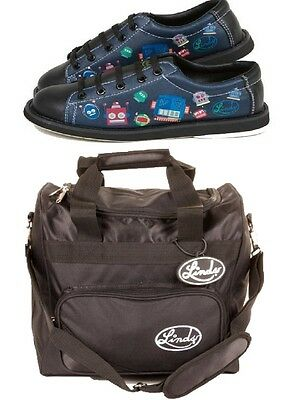 Boys Black Linds Bot Bowling Shoes Size 4 and Matching 1 Ball Bowling Bag