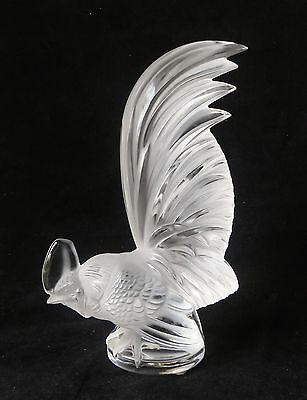 """Vintage 8"""" Lalique """"Coq Nain"""" Glass Paperweight Hood Ornament Car Crystal"""