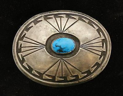 Early Navajo CHARLIE MIKE YAZZIE Belt Buckle Sterling Silver & Turquoise