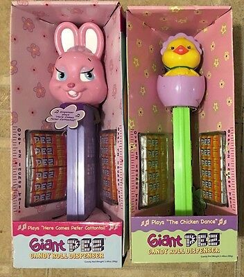 Set Of 2 Giant Easter Pez Dispensers! New! Mint!