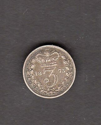 Great Britain 1873 3 Pence Silver Coin in VG to F Fine Condition