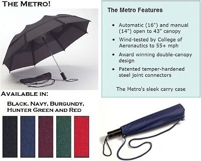 GUSTBUSTER METRO Automatic Folding Windproof Umbrella Storm Vented Strongest