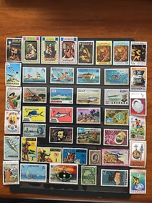43 Mint Hinged Stamps From Grenada