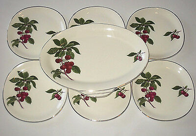 7x Vintage Alfred Meakin England Cherry Ripe Bread Butter Serving Plate