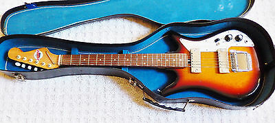 Vintage 1965 Teisco Tulip E-200 Solid Body Electric Guitar With Case, Japan