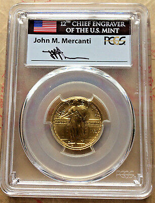 2016W 1/4oz Gold Standing Lib. 25c, SP70..FIRST DAY OF ISSUE..J-MERCANTI signed!