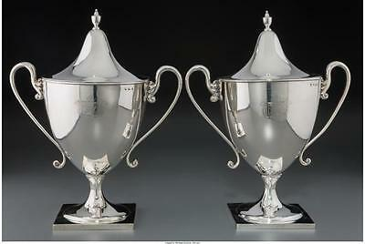 A Pair of George III Silver Covered Urns, London, Engla Lot 61208