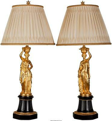 A Pair of French Gilt Bronze and Marble Figural Lamps after Louis V... Lot 61007