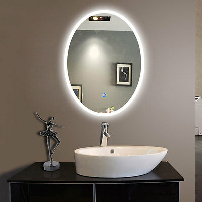 LED Bathroom Wall Mirror Oval Illuminated Lighted Vanity Mirror w/ Touch Button