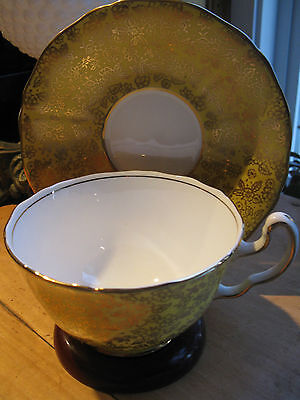 Vintage Adderley Tea Cup And Saucer Yellow Chintz Gold Pattern A1