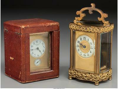 Two French Gilt Bronze Carriage Clocks, 20th century 6-1/2 inches h... Lot 61983