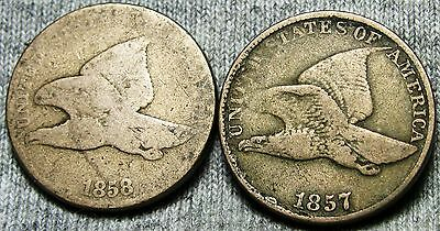 1857 & 1858 Flying Eagle Cents Lot Type Penny -- Nice Lot -- #D061